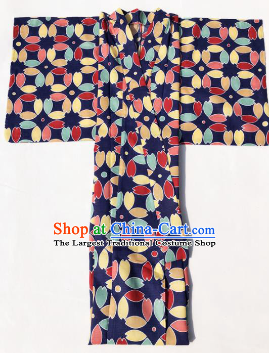 Traditional Japanese Classical Printing Navy Kimono Asian Japan Costume Geisha Yukata Dress for Women