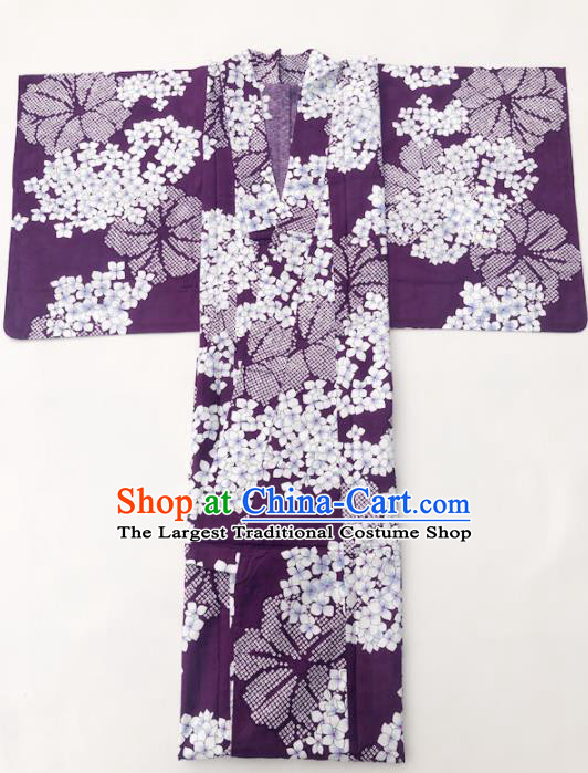 Traditional Japanese Classical Printing Hydrangea Purple Kimono Asian Japan Costume Geisha Yukata Dress for Women