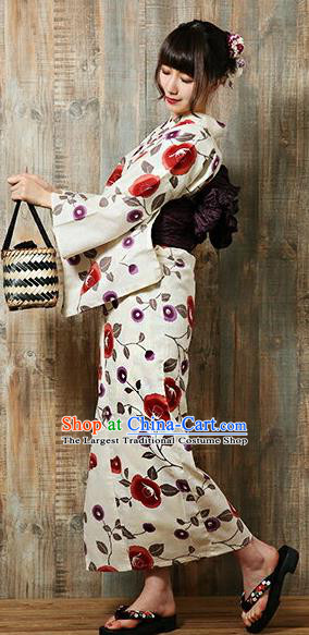 Traditional Japanese Classical Printing Red Flowers Kimono Asian Japan Costume Geisha Yukata Dress for Women