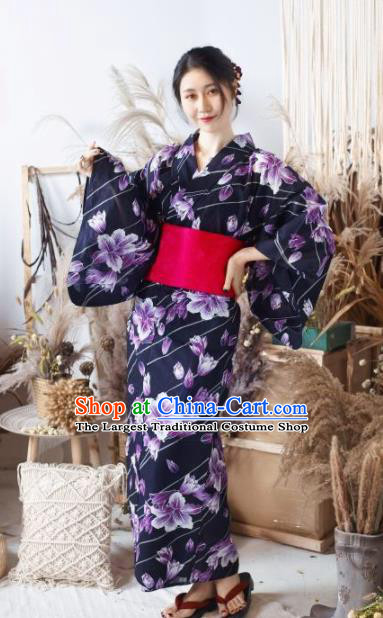 Japanese Traditional Classical Printing Purple Flowers Kimono Asian Japan Costume Geisha Yukata Dress for Women