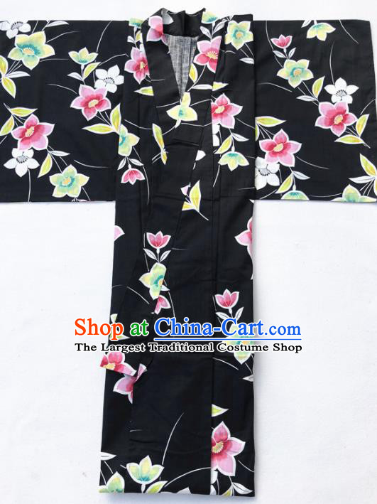 Japanese Classical Printing Flowers Black Kimono Asian Japan Traditional Costume Geisha Yukata Dress for Women