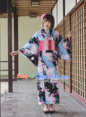 Japanese Classical Printing Sakura Kimono Asian Traditional Japan Costume Geisha Yukata Dress Complete Set for Women