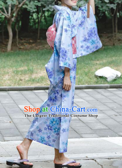 Japanese Classical Printing Flowers Kimono Asian Traditional Japan Costume Geisha Yukata Dress Complete Set for Women