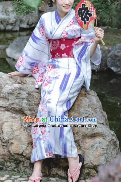 Japanese Classical Printing Petunia Kimono Asian Traditional Japan Costume Geisha Yukata Dress Complete Set for Women