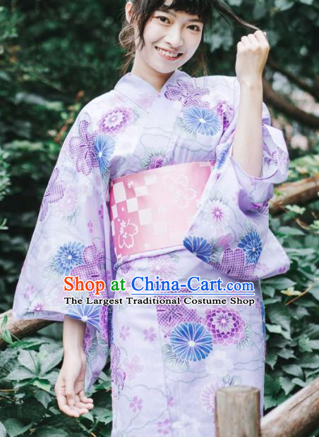 Japanese Classical Printing Violet Kimono Asian Traditional Japan Costume Geisha Yukata Dress Complete Set for Women