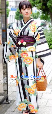 Japanese Traditional Printing Peony Flowers Kimono Asian Japan Costume Geisha Yukata Dress for Women