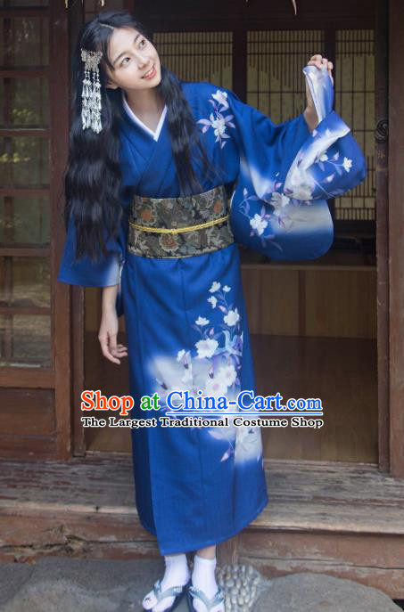 Traditional Japanese Classical Printing Flowers Royalblue Kimono Asian Japan Costume Geisha Yukata Dress for Women