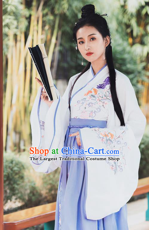Ancient Chinese Jin Dynasty Princess Historical Costume Traditional Embroidered Hanfu Dress for Women