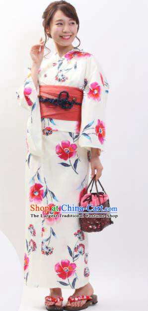 Japanese Classical Printing Pink Flowers Kimono Asian Japan Traditional Costume Geisha Yukata Dress for Women