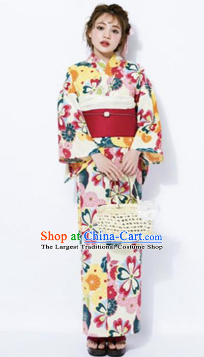 Japanese Classical Printing Flowers Kimono Asian Japan Traditional Costume Geisha Yukata Dress for Women