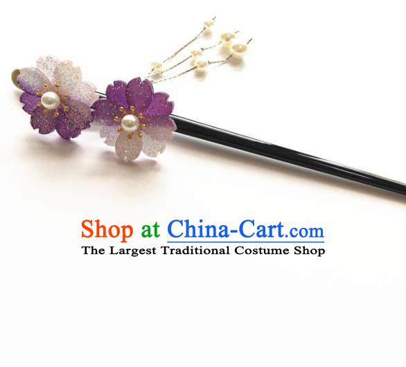 Japanese Traditional Geisha Kimono Hair Accessories Japan Yukata Purple Sakura Tassel Hairpin for Women
