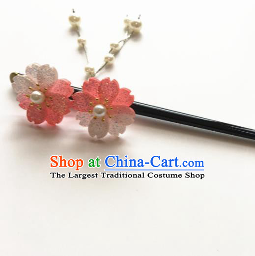 Japanese Traditional Geisha Kimono Hair Accessories Japan Yukata Pink Sakura Tassel Hairpin for Women