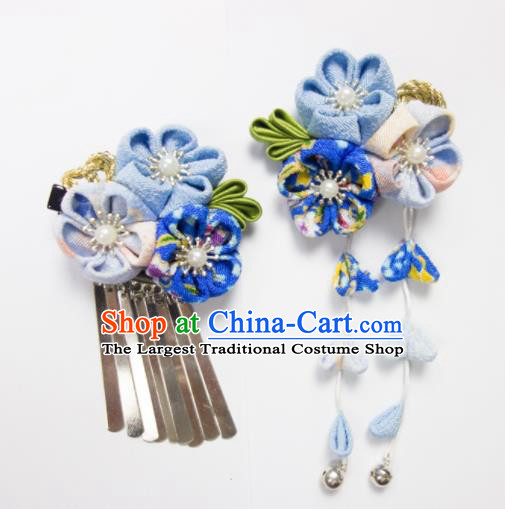 Japanese Traditional Geisha Kimono Hair Accessories Japan Yukata Blue Sakura Tassel Hair Claws for Women