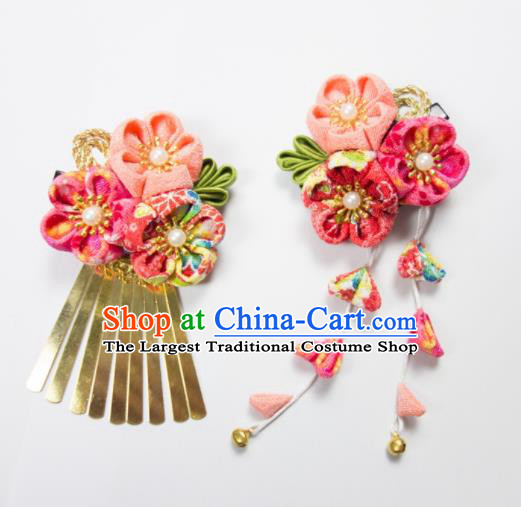 Japanese Traditional Geisha Kimono Hair Accessories Japan Yukata Pink Sakura Tassel Hair Claws for Women