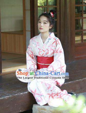 Japanese Classical Printing Red Maple Leaf Kimono Asian Japan Traditional Costume Geisha Yukata Dress for Women