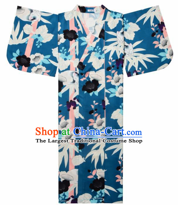 Japanese Classical Printing Bamboo Leaf Blue Kimono Asian Japan Traditional Costume Geisha Yukata Dress for Women