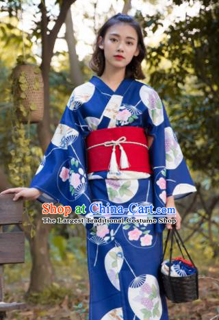 Japanese Classical Printing Fans Blue Kimono Asian Japan Traditional Costume Geisha Yukata Dress for Women
