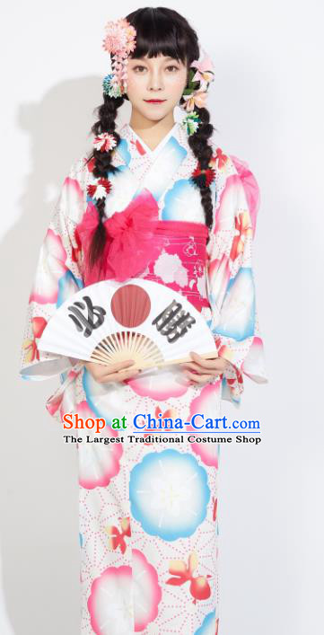 Japanese Classical Printing Yukata Dress Asian Japan Traditional Costume Geisha Furisode Kimono for Women