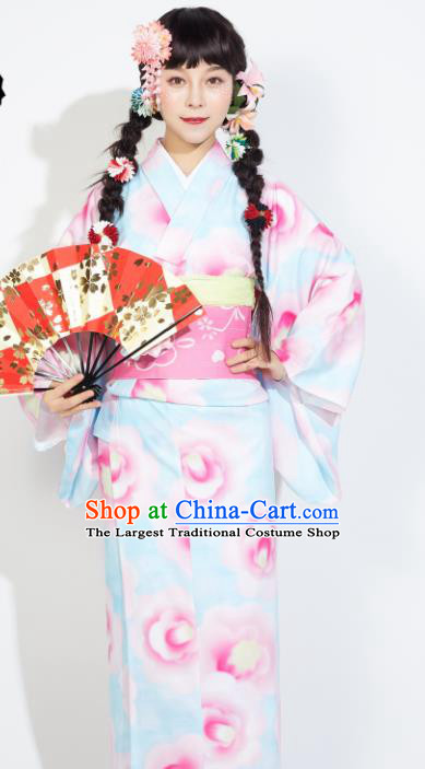 Japanese Classical Printing Light Blue Yukata Dress Asian Japan Traditional Costume Geisha Furisode Kimono for Women