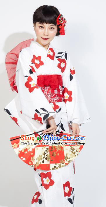 Japanese Classical Printing Sakura White Yukata Dress Asian Japan Traditional Costume Geisha Furisode Kimono for Women