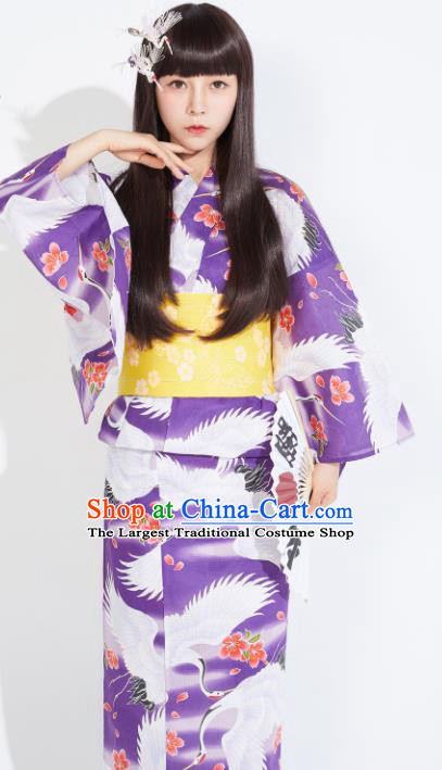 Japanese Classical Printing Cranes Purple Yukata Dress Asian Japan Traditional Costume Geisha Furisode Kimono for Women