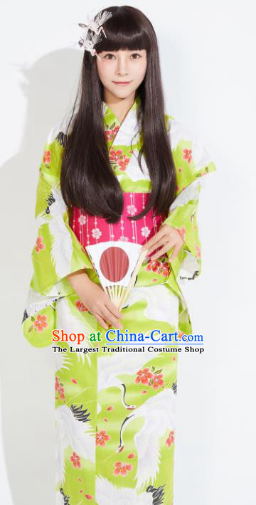 Japanese Classical Printing Cranes Green Yukata Dress Asian Japan Traditional Costume Geisha Furisode Kimono for Women