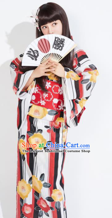 Japanese Classical Printing Yukata Robe Asian Japan Traditional Costume Geisha Furisode Kimono Dress for Women