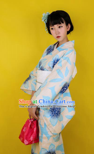 Japanese Classical Printing Blue Flowers Kimono Asian Japan Traditional Costume Geisha Yukata Dress for Women