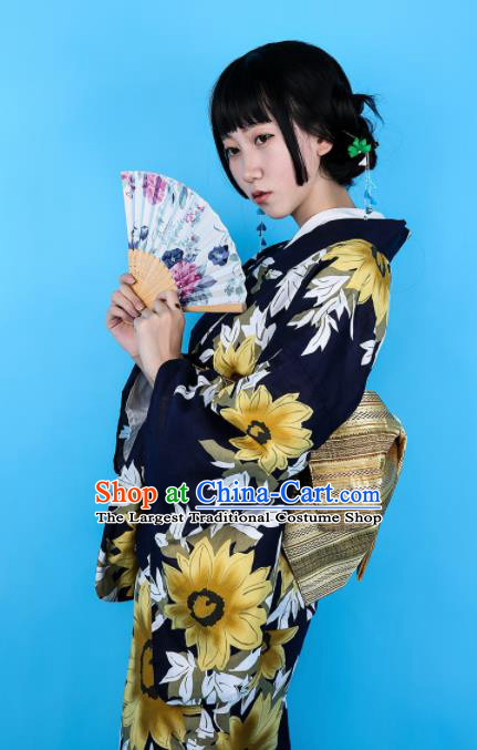 Japanese Classical Printing Yellow Flowers Kimono Asian Japan Traditional Costume Geisha Yukata Dress for Women