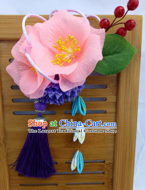 Japanese Traditional Geisha Kimono Hair Accessories Japan Yukata Pink Flowers Tassel Hair Claws for Women