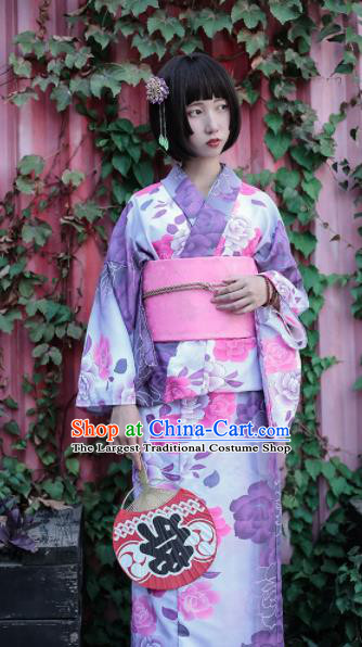 Japanese Classical Printing Peony Purple Furisode Kimono Asian Japan Traditional Costume Geisha Yukata Dress for Women
