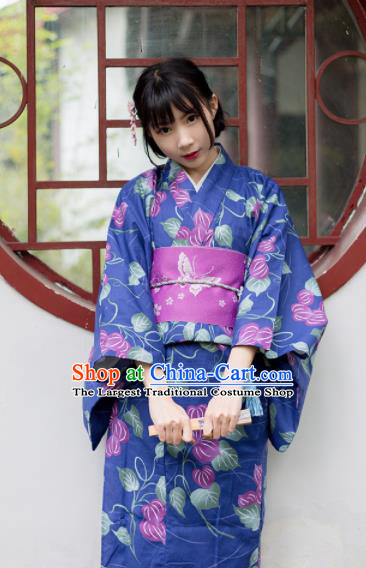Japanese Classical Printing Blue Furisode Kimono Asian Japan Traditional Costume Geisha Yukata Dress for Women