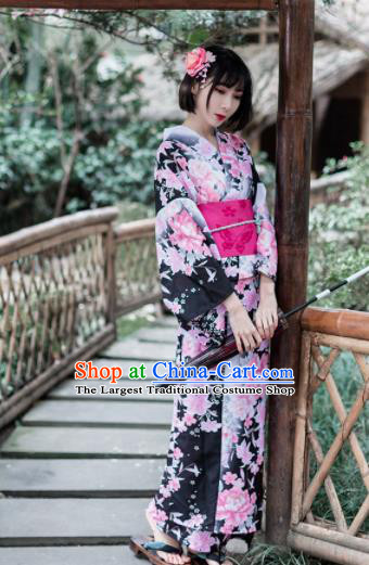 Japanese Classical Printing Peony Black Furisode Kimono Asian Japan Traditional Costume Geisha Yukata Dress for Women