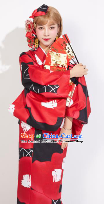 Japanese Classical Printing Red Yukata Dress Asian Japan Traditional Costume Geisha Furisode Kimono for Women