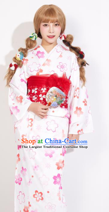 Japanese Classical Printing Sakura Yukata Dress Asian Japan Traditional Costume Geisha Furisode Kimono for Women
