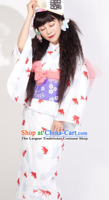 Japanese Classical Printing Goldfish White Yukata Dress Asian Japan Traditional Costume Geisha Furisode Kimono for Women