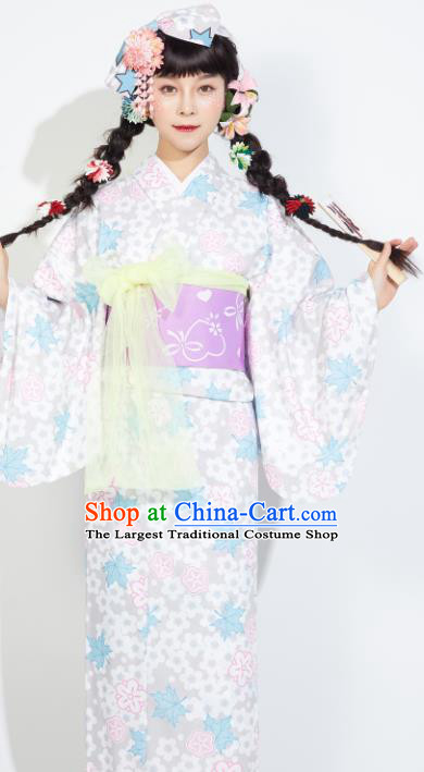 Japanese Classical Printing Maple Leaf Yukata Dress Asian Japan Traditional Costume Geisha Furisode Kimono for Women
