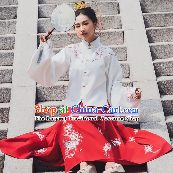 Ancient Chinese Ming Dynasty Historical Costume Traditional Palace Lady Hanfu Dress for Women