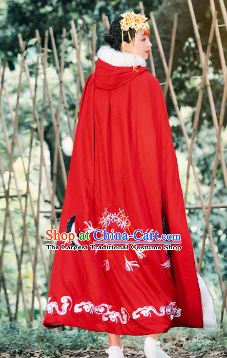 Ancient Chinese Ming Dynasty Historical Costume Traditional Palace Princess Embroidered Cranes Red Cloak for Women