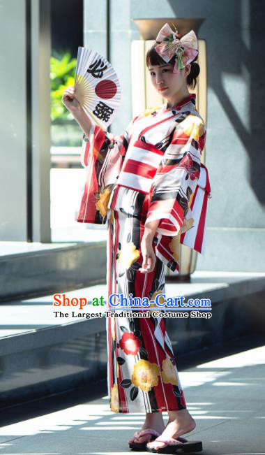 Japanese Classical Printing Red Yukata Robe Asian Japan Traditional Costume Geisha Furisode Kimono Dress for Women
