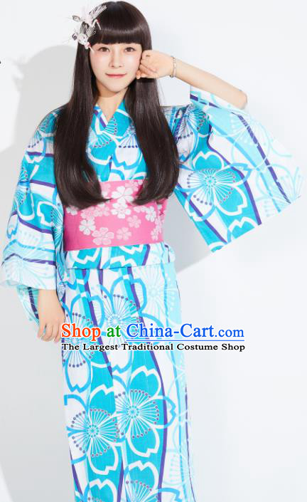 Japanese Classical Printing Blue Yukata Robe Asian Japan Traditional Costume Geisha Furisode Kimono Dress for Women