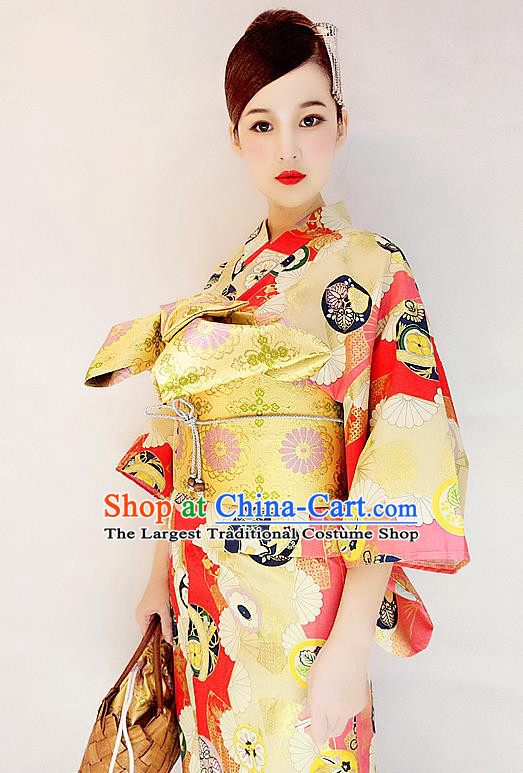 Japanese Classical Printing Golden Yukata Robe Asian Japan Traditional Costume Geisha Furisode Kimono Dress for Women