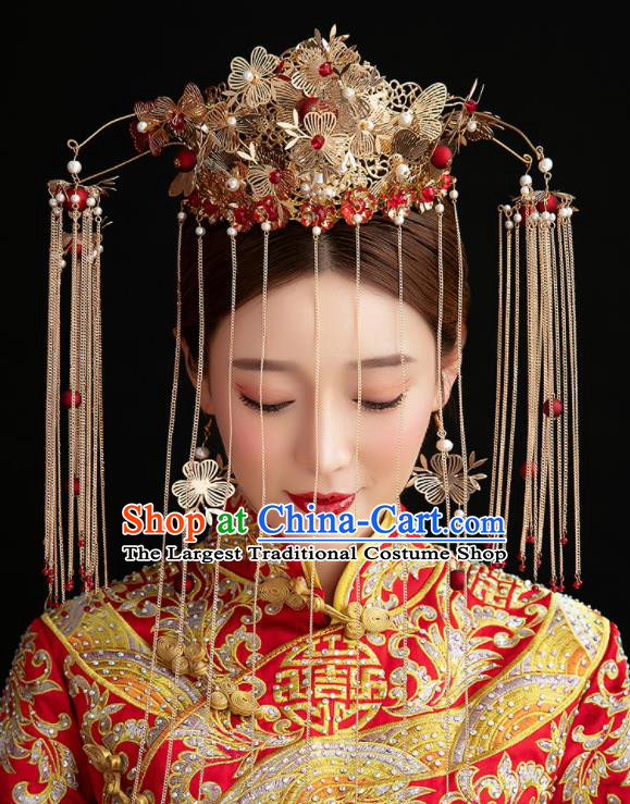 Traditional Chinese Ancient Hanfu Phoenix Coronet Bride Hairpins Handmade Wedding Hair Accessories for Women