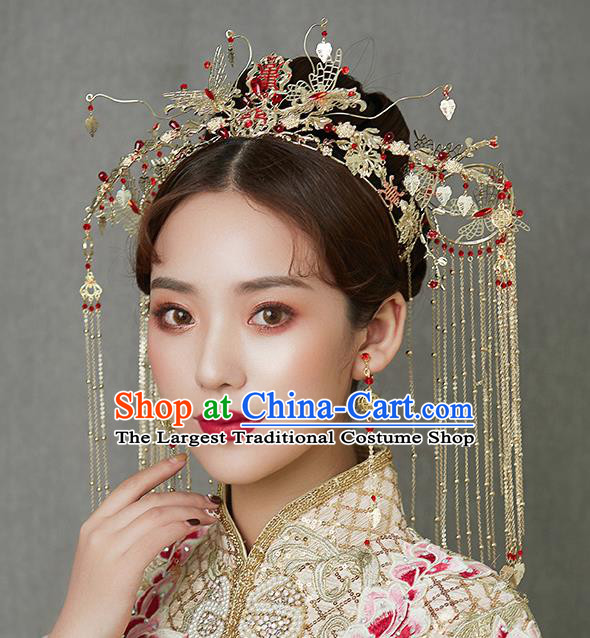 Traditional Chinese Handmade Wedding Hair Accessories Ancient Bride Phoenix Coronet Tassel Hairpins for Women
