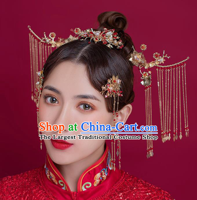 Traditional Chinese Ancient Bride Tassel Hairpins Step Shake Handmade Wedding Hair Accessories for Women