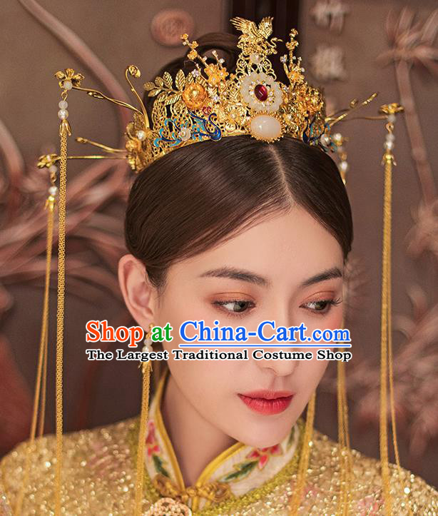 Traditional Chinese Ancient Bride Tassel Hairpins Blueing Phoenix Coronet Handmade Wedding Hair Accessories for Women