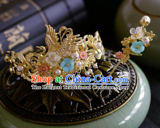 Traditional Chinese Ancient Palace Crane Hair Crown Hairpins Handmade Wedding Hair Accessories for Women