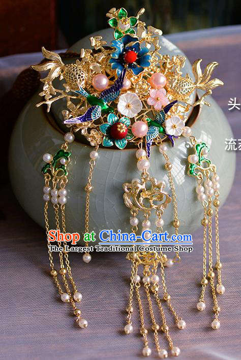 Traditional Chinese Ancient Palace Cloisonne Tassel Hair Crown Hairpins Handmade Wedding Hair Accessories for Women