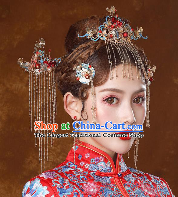 Traditional Chinese Ancient Bride Tassel Hairpins Cloisonne Phoenix Coronet Handmade Wedding Hair Accessories for Women