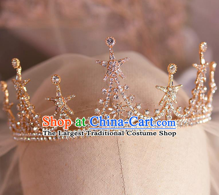 Handmade Wedding Hair Accessories Baroque Bride Crystal Star Golden Royal Crown for Women